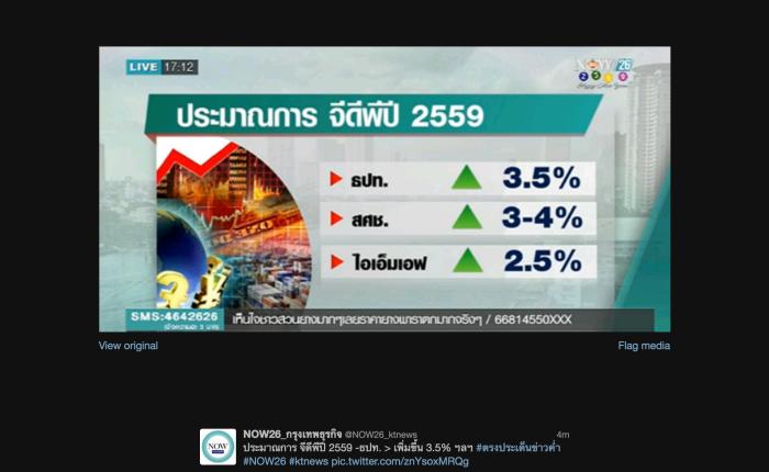 ตัวเลขประมาณการณ์ GDP ไทยปี 2559จากอีกสามค่าย